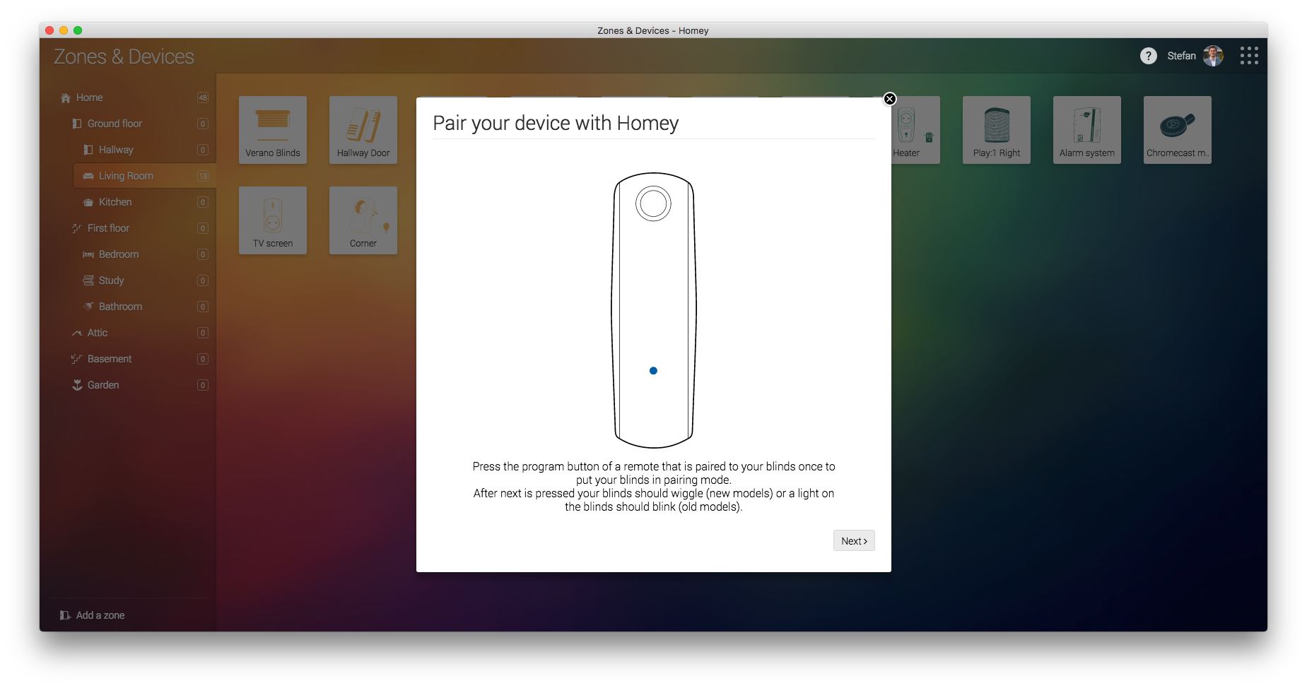 Pairing your Somfy remote to Homey