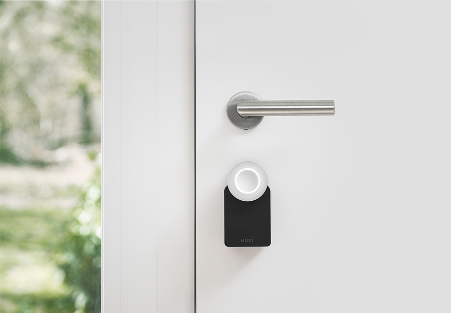 Nuki smart lock installed on door